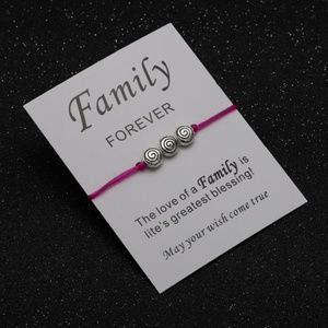 Jewelry - FAMILY FOREVER Pink Rope Charm Bracelet & Card NWT